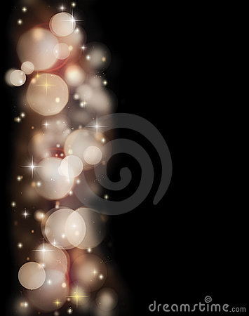 Abstract holiday border of glowing bokeh lights
