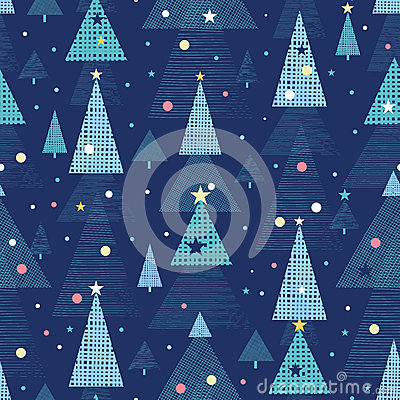 Abstract holiday Christmas trees seamless pattern