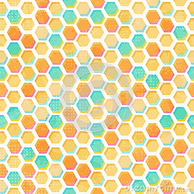 Abstract honeycomb seamless pattern with grunge effect