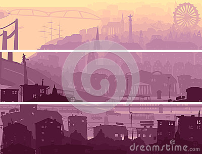 Abstract horizontal banner of big city in sunset.