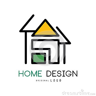 Free Abstract House For Logo Design. Original Vector Emblem For Shop Home Decorative Objects, Interior Decorators And Royalty Free Stock Image - 113709106