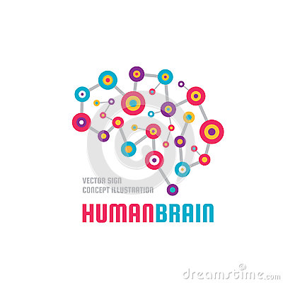 Abstract human brain - business vector logo template concept illustration. Creative idea colorful sign. Infographic symbol. Vector Illustration