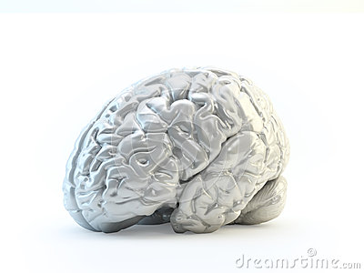 Abstract human brain made out of shiny meta