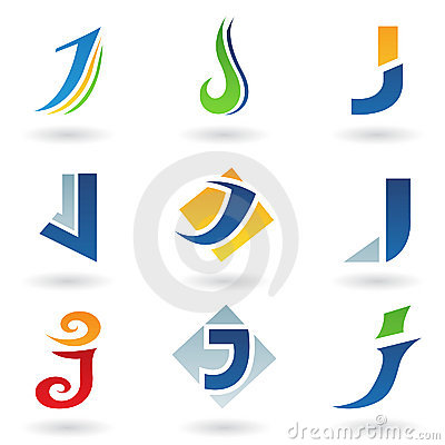 Abstract icons for letter J