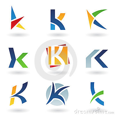 Abstract icons for letter K