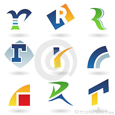 Abstract icons for letter R