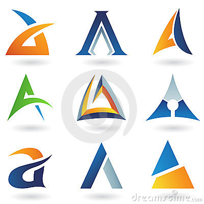 Abstract icons resembling letter A