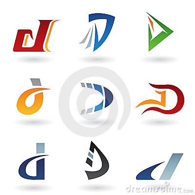 Abstract icons resembling letter D
