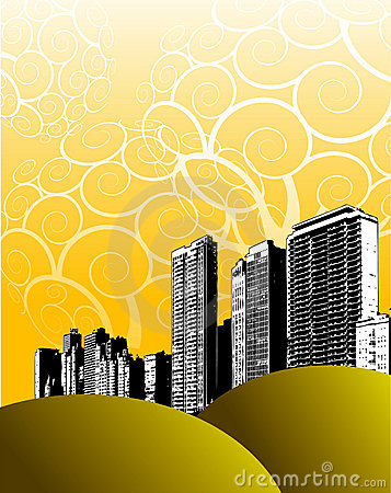 Abstract illustrated skyline