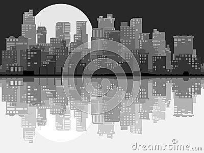 Abstract illustration of big city at night.