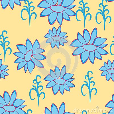Abstract illustration with blue flowers