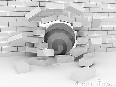 Abstract Illustration of Brick Wall Broken by Wrecking Ball