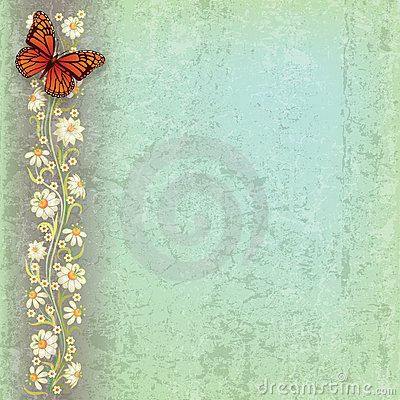 Abstract illustration with butterfly and flowers