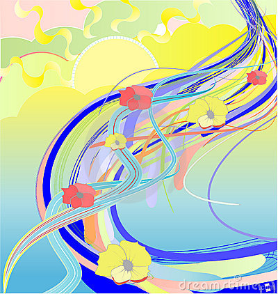 Abstract illustration of flower river