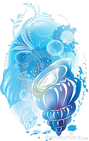 Abstract illustration with a seashell