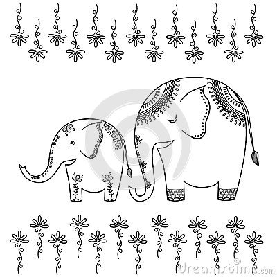 Abstract illustration of two elephants