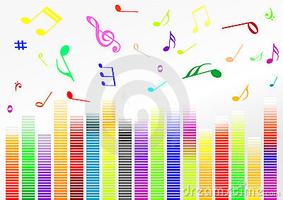 Abstract illustration with volume bars and music n