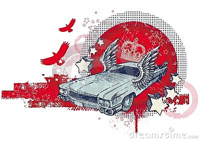 Abstract illustration with winged retro car