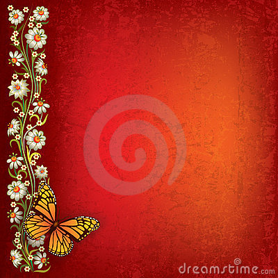 Free Abstract Illustration With Butterfly And Flowers Royalty Free Stock Image - 20123496