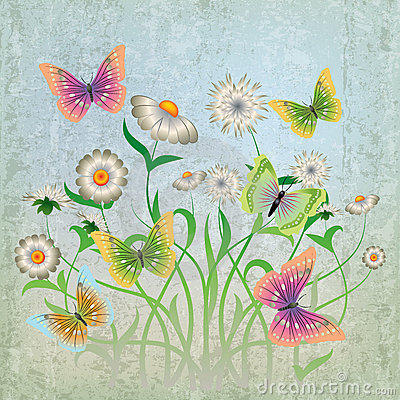 Free Abstract Illustration With Flowers And Butterfly Royalty Free Stock Image - 20123146