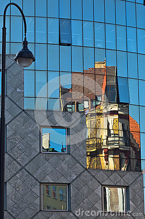 Free Abstract Image As A Reflection Of Old Style Buildings In A Glass Of Haas House At Downtown Of Vienna Royalty Free Stock Photos - 43258438