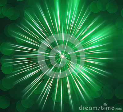 Abstract image, blurred green fireworks
