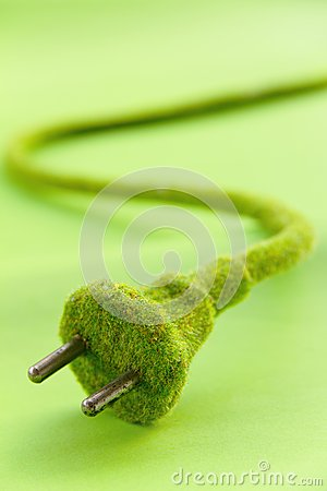 Abstract image of green electric plug