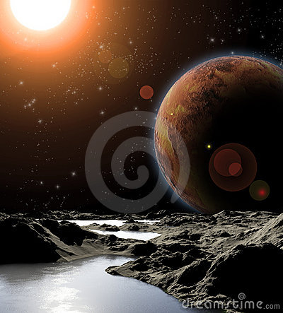 Abstract image of a planet with water.