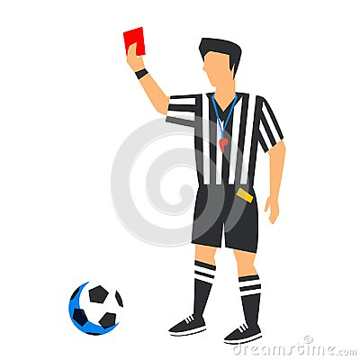 Free Abstract In Blue Football Referee With Red Card And Ball. Soccer Referee Isolated On A White Background. FIFA World Cup Royalty Free Stock Image - 116931616