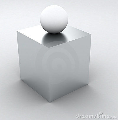 Abstract Info 3D - white cube and sphere