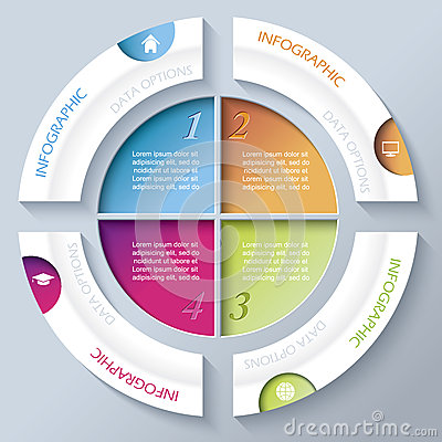 Abstract infographic design with circle and four segments Cartoon Illustration