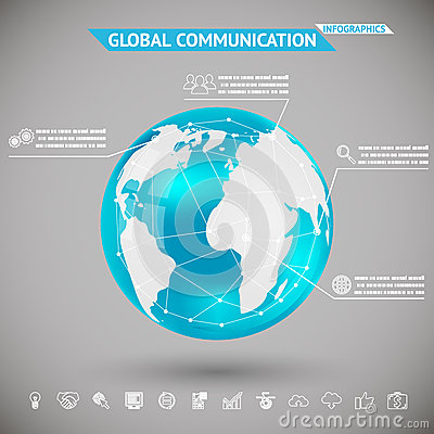 Free Abstract Infographics Global Communication With Icons Planet Earth Sphere Ball On Gray Bacground Vector Illustration Stock Photography - 39833312
