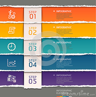 Free Abstract Infographics Template Torn Paper Style. Stock Photos - 43140253