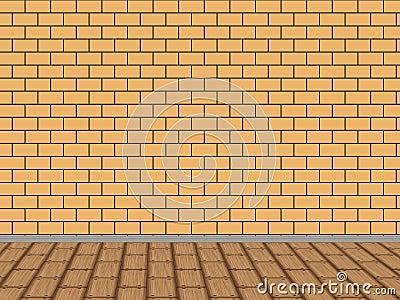 Abstract interior with brick wall
