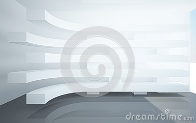 Abstract interiors with stylized, abstract white