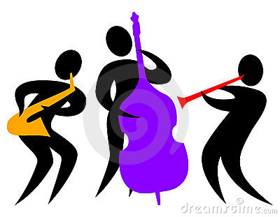 Colorful abstract illustration of a musical jazz band with bass player ...