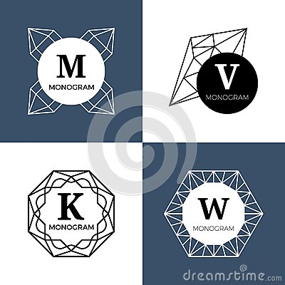 Free Abstract Jewel Gems, Diamond Jewellery, Crystal Shapes Vector Monograms, Logos Stock Photo - 84645980