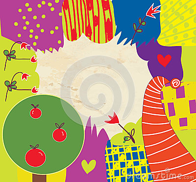 Abstract kids funny background with flowers
