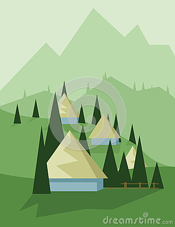 Free Abstract Landscape Design With Green Trees And Hills, Yellow Houses In The Mountains, Flat Style Royalty Free Stock Photography - 74108897