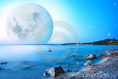 Abstract landscape with moon on sea cost