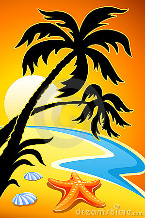 Abstract landscape with sunset palm and sea star