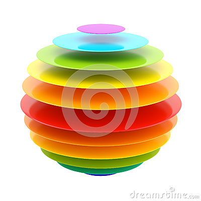 Abstract layer rainbow colored sphere
