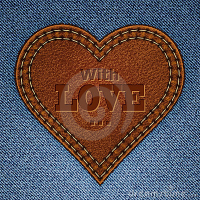 Abstract leather heart on jeans texture
