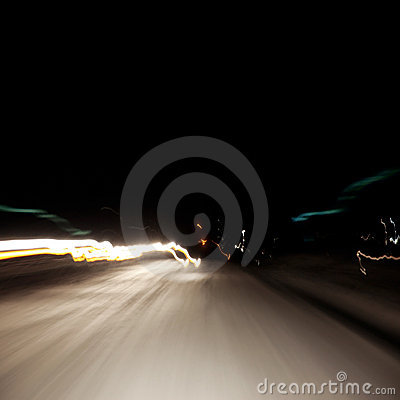 Abstract light in the moment fast moving cars