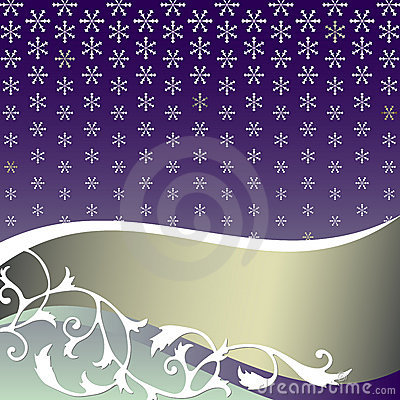 Abstract  lilas background with snowflakes