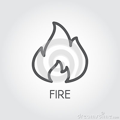 Abstract line icon of fire. Flame gas simplicity outline pictograph on gray background. Vector contour illustration Vector Illustration