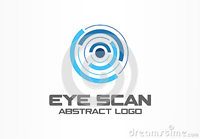 Abstract logo for business company. Corporate identity design element. Retina circle scanner, personality eye Vector Illustration