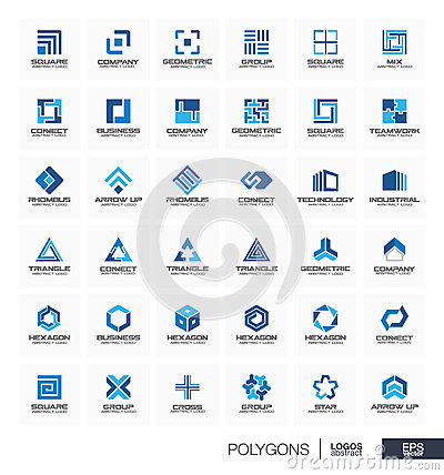 Free Abstract Logo Set For Business Company. Segment Group Connect, Triangle Concept. Polygon, Square, Rhombus, Cross Stock Photo - 75141570