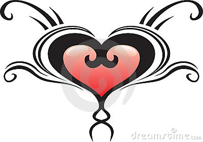 Abstract love heart crest