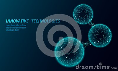 Abstract low poly biological connected cell. Connection world communication technology polygonal. Blue business science Vector Illustration